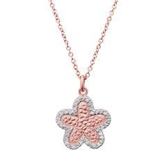 Rosé vergoldete 925 Silberkette Blumenanhänger