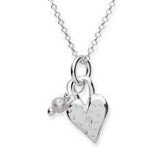 Silberkette 925 mit Herzanhänger und Perle
