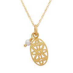 Vergoldete Silberkette Anhänger und Perle
