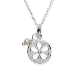 Silberkette 925 mit Blumenanhänger und Perle