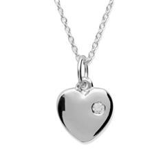 925 Silberkette mit Herzanhänger und Zirkonia
