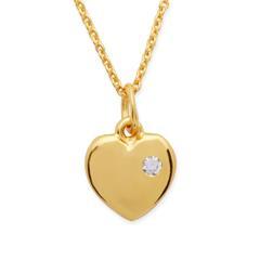 Silberkette vergoldet Herzanhänger und Zirkonia