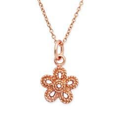 Rose vergoldete Silberkette mit Blumenanhänger