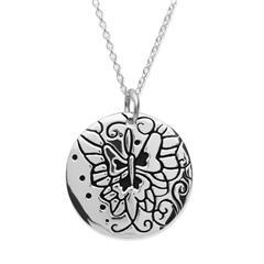 Silberkette 925 mit runden Anhänger und Muster