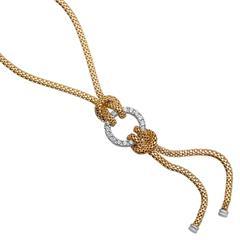Silbercollier gelbvergoldet Zirkonia