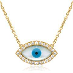 925 Silber Kette vergoldet Auge Zirkonia