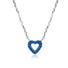 Sterlingsilber Kette mit Herzform blaue Zirkonia