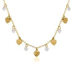 Herzkette aus vergoldetem 925er Silber mit Zirkonia