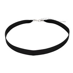 Choker aus schwarzem Textil mit 925er Silberverschluss
