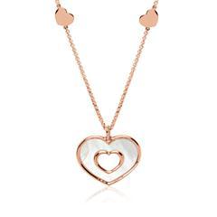 Herzkette aus rosévergoldetem Sterlingsilber