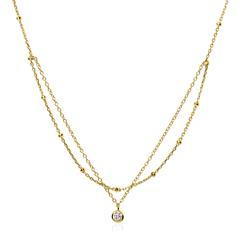 Layer Necklace Made Of Gold-Plated 925 Silver With Zirconia