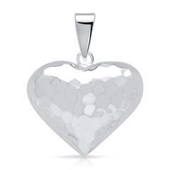 Gehämmerter 925 Silber Herzanhänger