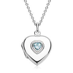 Silberkette Medaillon herzförmig Blautopas