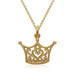 Silberkette vergoldet Anhänger Krone