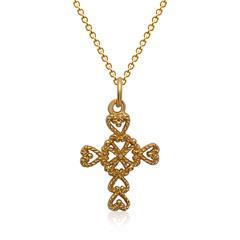 Silberkette vergoldet Kreuzanhänger