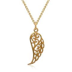 Silberkette vergoldet Schwingenanhänger