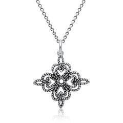 Silberkette inkl. Anhänger Kleeblatt