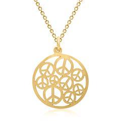 Silberkette vergoldet Anhänger Peace