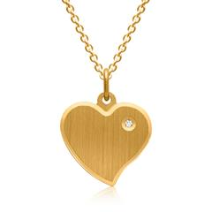 Vergoldete 925 Silberkette Herz Zirkonia