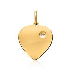 Anhänger 925 Silber vergoldet Herz Zirkonia