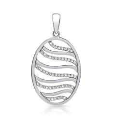 Ovaler 925er Silberanhänger mit Steinbesatz