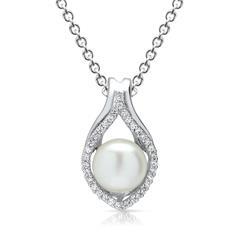 Silberkette inkl. perlenbesetztem Anhänger