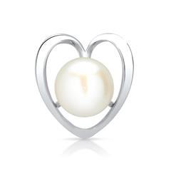 Herzförmiger Silberanhänger mit weißer Perle