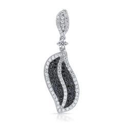 Silberanhänger schwarz-weißes Zirkonia Pavee