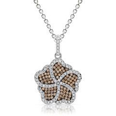 Silber Halskette mit Anhänger in Blütenform