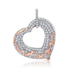 Herzförmiger Silberanhänger weißer Steinbesatz