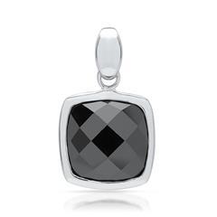 Echter 925 Silber Anhänger mit schwarzem Stein