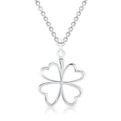Halskette mit Kleeblatt-Anhänger aus Silber