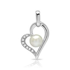925 Silberanhänger Herz Perle Zirkonia