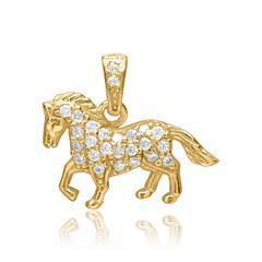 Anhänger 925er Silber vergoldet Pferd Zirkonia