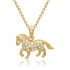 Kette mit Anhänger 925er Silber vergoldet Pferd Zirkonia