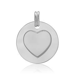 Runder Anhänger mit Herzsymbol 925er Silber