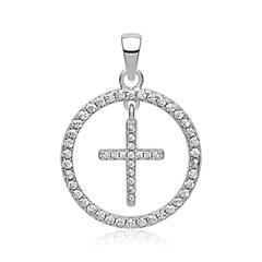Runder Anhänger Silber Zirkonia Kreuz