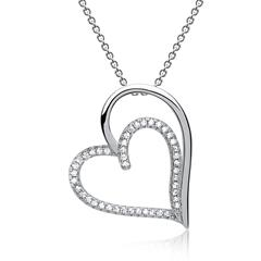 925er Silberkette mit Herzanhänger Zirkonia