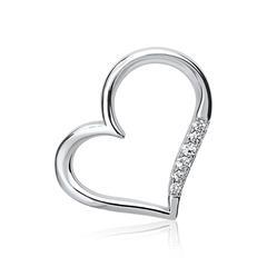 Rhodinierter Anhänger Silber Zirkonia Herz