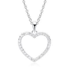 925er Sterling Silber Kette Zirkonia Herz