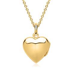 925er Silber Kette Herz-Medaillon vergoldet