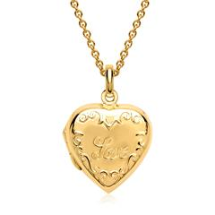 925er Kette Medaillon Inschrift Love vergoldet