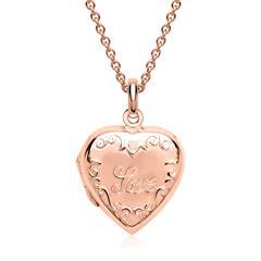925er Silber Kette Medaillon Inschrift Love rosé