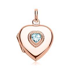 Herz-Medaillon mit blauem Stein rosé gravierbar