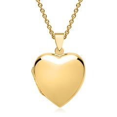 Kette großes Herzmedaillon vergoldet