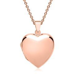 Kette großes Herzmedaillon vergoldet rosé