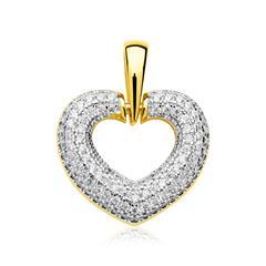 Anhänger 925er Silber vergoldet Zirkonia Herz