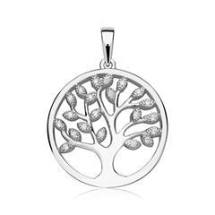 925er Silber Anhänger Lebensbaum Zirkonia