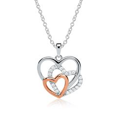 Herzkette 925er Silber roségold Zirkonia