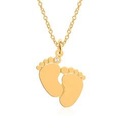 Gravur Kette Babyfüße aus vergoldetem Sterlingsilber